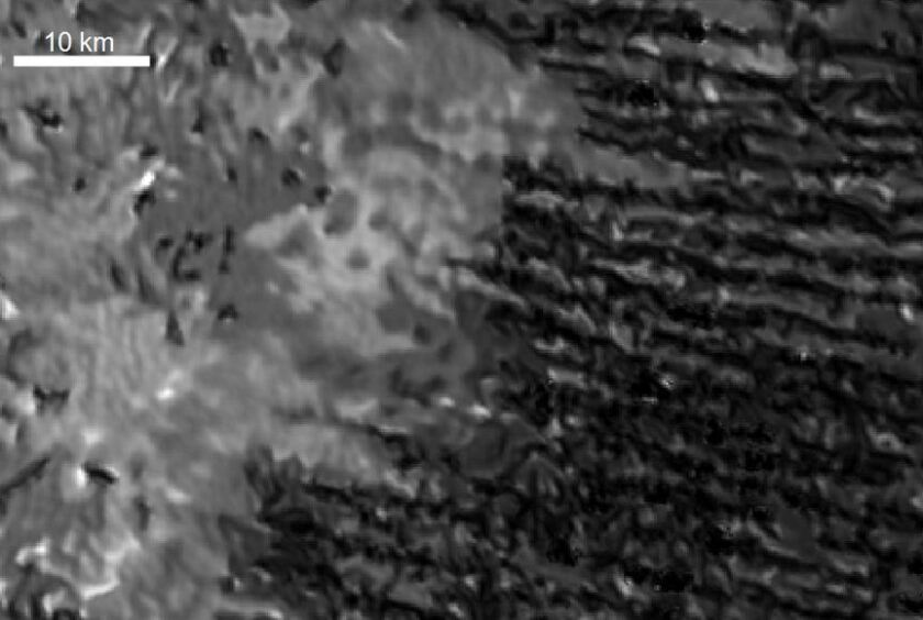 Degraded sand dune patterns seen in this radar image taken by the Cassini spacecraft.