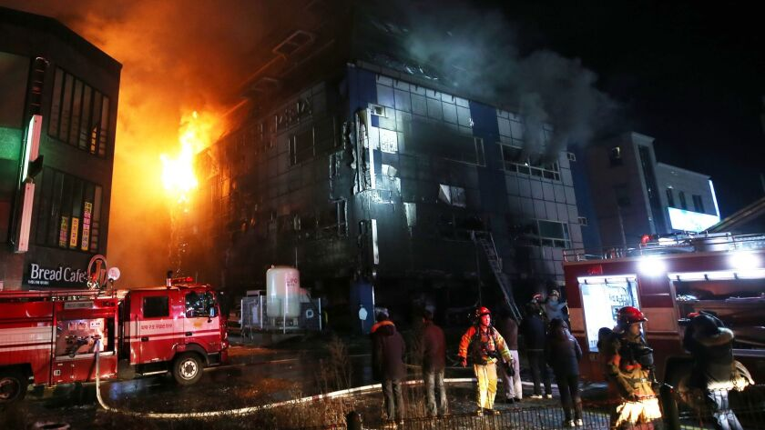 18 dead, 24 injured in fire at gym building, Jecheon, Korea - 21 Dec 2017