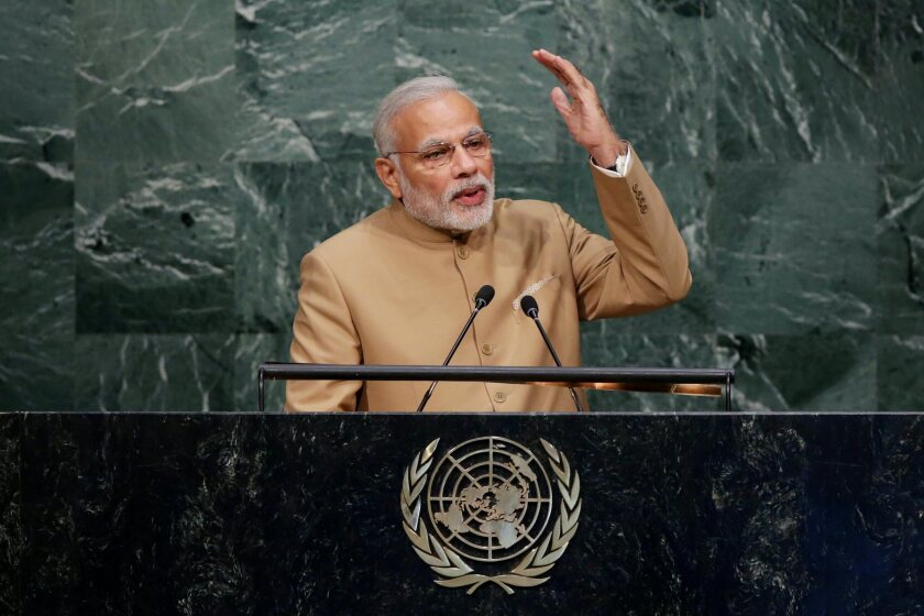 Indian Prime Minister Narendra Modi speaks at the United Nations in New York City on Friday.