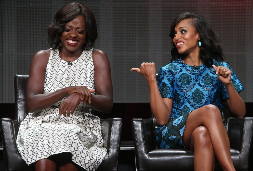 """Actresses Viola Davis, left, and Kerry Washington talk about Shonda Rhimes' """"How to Get Away With Murder"""" and """"Scandal"""" on Tuesday during the 2015 Summer TCA Tour."""