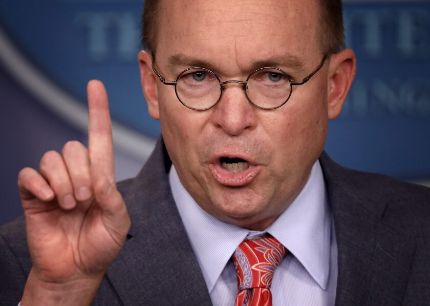 Acting White House Chief of Staff Mick Mulvaney briefs media at the White House