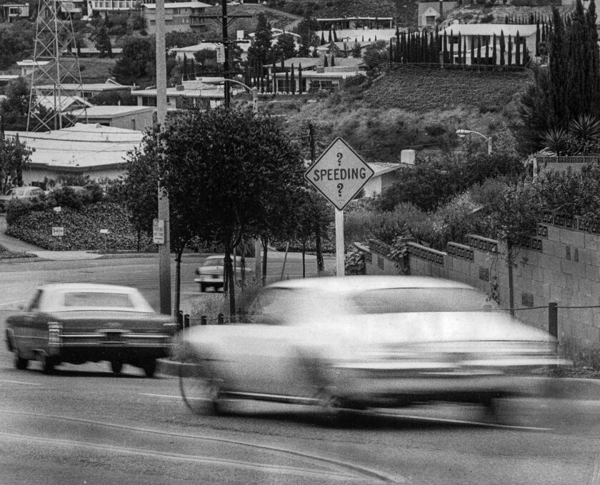 April 11, 1972: New speeding sign in Laurel Canyon on Laurel Canyon Blvd. north of Mulholland Drive.