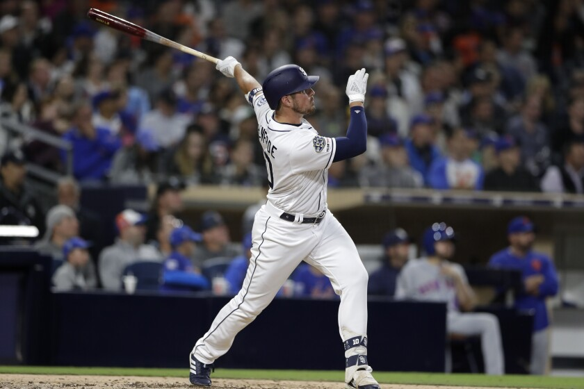 Hunter Renfroe watches one of his 14 home runs this season, 10 of which have been pulled to left field.