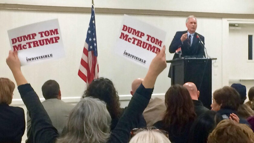 Rep. Tom McClintock (R-Elk Grove) speaks at a town hall meeting about Republican proposals in Congress and actions by President Trump on healthcare, immigration and the environment.