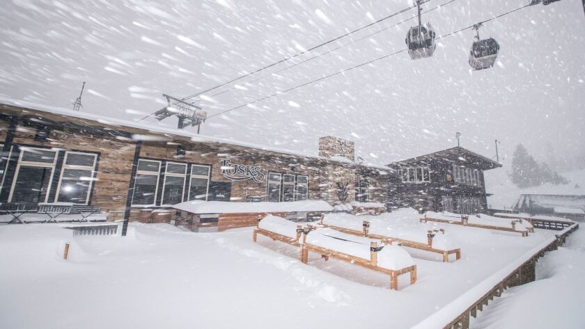Mammoth Mountain Ski Area was hit with a snowstorm in early April.