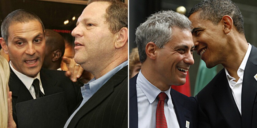 Ari Emanuel (left, with Harvey Weinstein) and his agency have always been big Democratic supporters and fundraisers. But there's nothing like mixing family and politics to come up with a cocktail of influence.