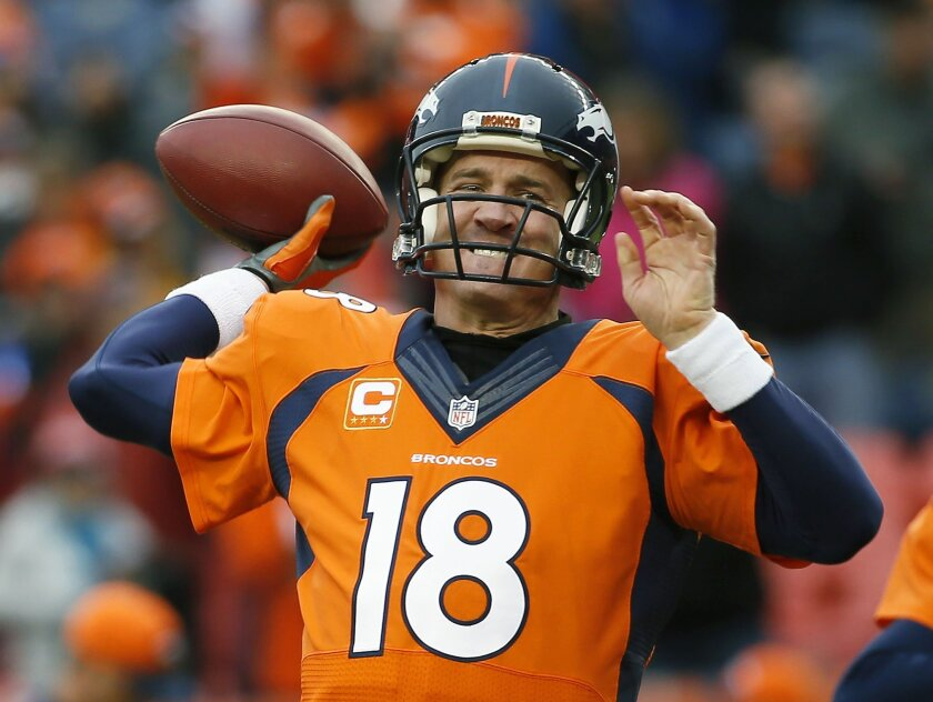FILE - In this Sunday, Jan. 11, 2015, file photo, Denver Broncos quarterback Peyton Manning (18) warms up prior to an NFL divisional playoff football game against the Indianapolis Colts in Denver. Manning can earn back every penny of the $4 million pay cut John Elway asked his to take this offseason. All he has to do is win Super Bowl 50. (AP Photo/Jack Dempsey, File)