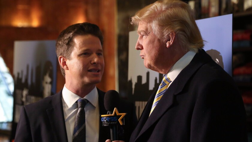 """Donald Trump with Billy Bush of """"Access Hollywood"""" on Jan. 20, 2015, in New York."""