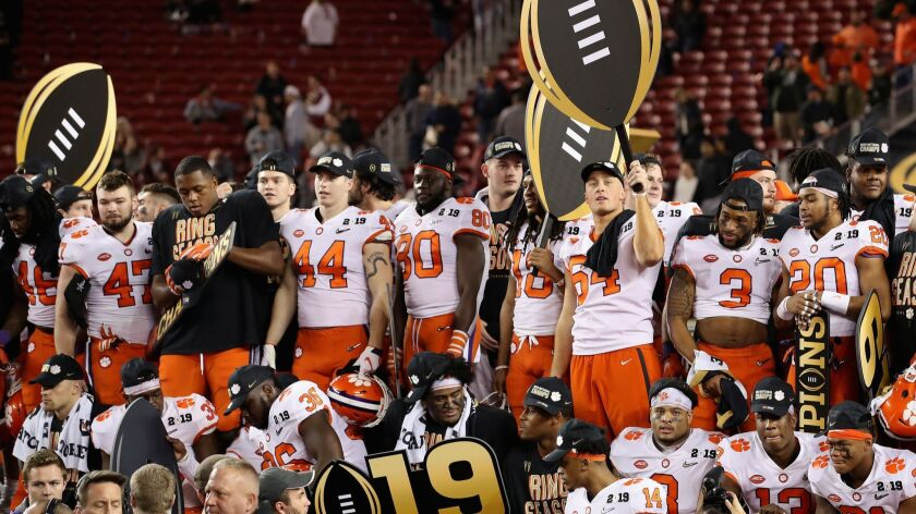 The Clemson Tigers celebrate their win over the Alabama Crimson Tide in the College Football Playoff national championship game on Jan. 7.
