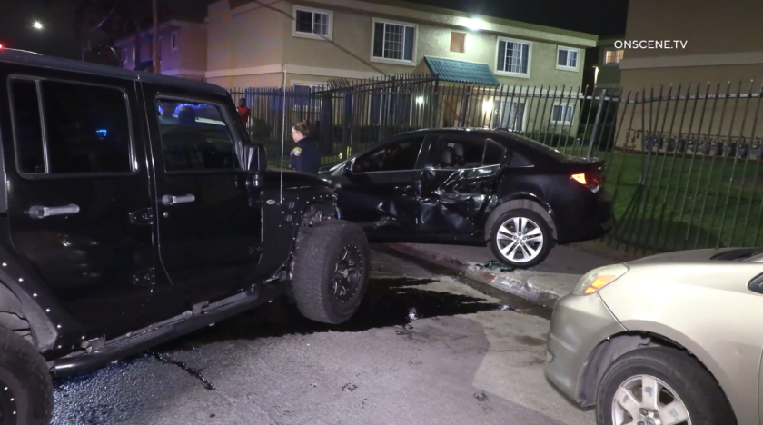 A man driving a black Jeep damaged eight parked cars early Sunday and was arrested on suspicion of DUI.
