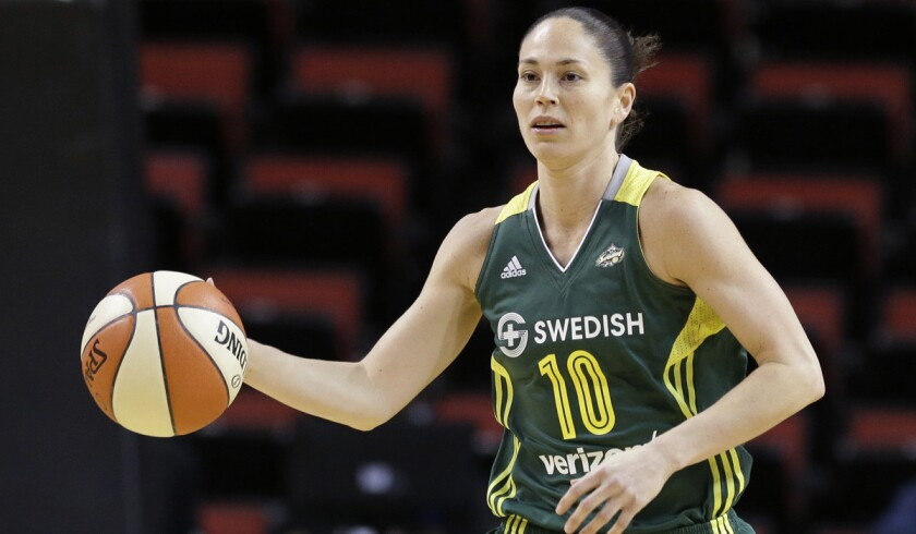 Storm guard Sue Bird, shown during a game earlier this season, made five three-pointers Friday night..