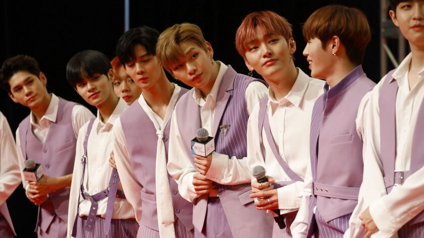 "LOS ANGELES, CA AUGUST 11, 2018: KPOP performers ""Wanna One"" on stage during the red carpet at"