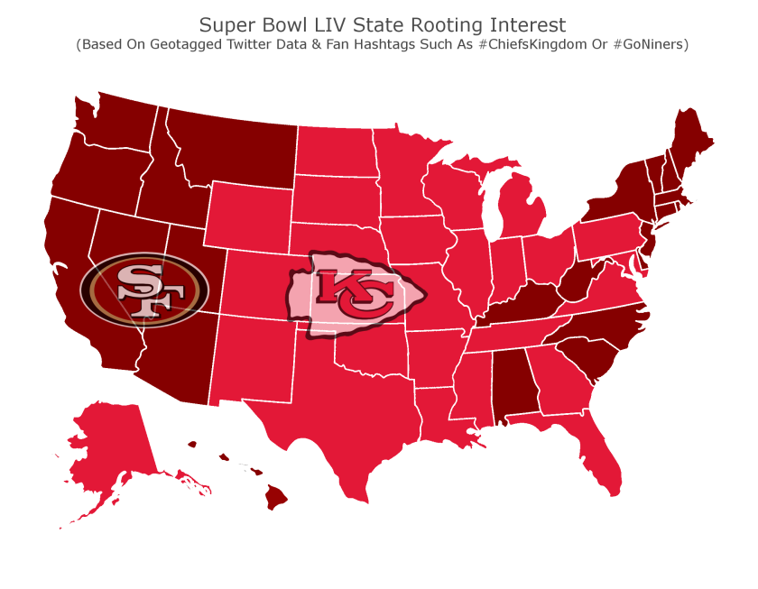 Geotagged Twitter data shows the nation's rooting interest for Super Bowl LIV between the San Francisco 49ers and Kansas City Chiefs.