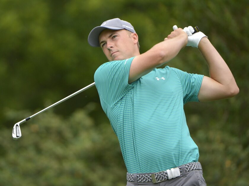 Jordan Spieth hits from the fourth tee during the first round of the Dean & Deluca Invitational golf tournament Thursday, May 26, 2016, at Colonial Country Club in Fort Worth, Texas. (Max Faulkner/Star-Telegram via AP)