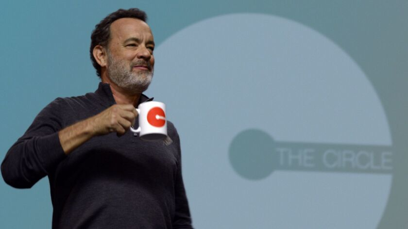 """Tom Hanks stars in the movie version of the book, """"The Circle."""" The film debuts in April."""