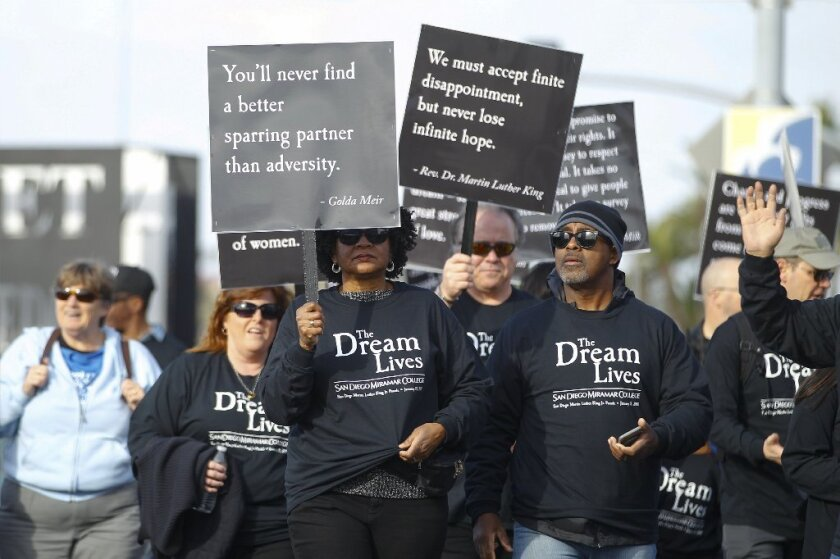 One of many groups that took part in San Diego's annual Dr. Martin Luther King Parade along Harbor Drive on Sunday.