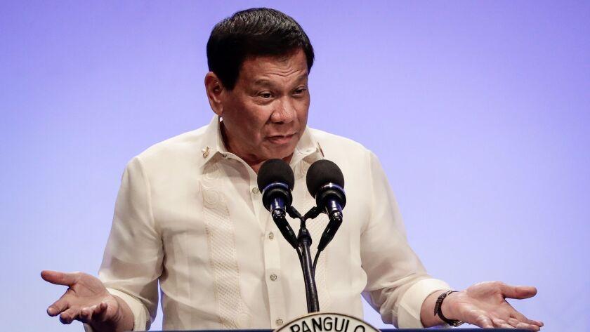 Philippine President Rodrigo Duterte in Pasay City, Philippines on April 29.