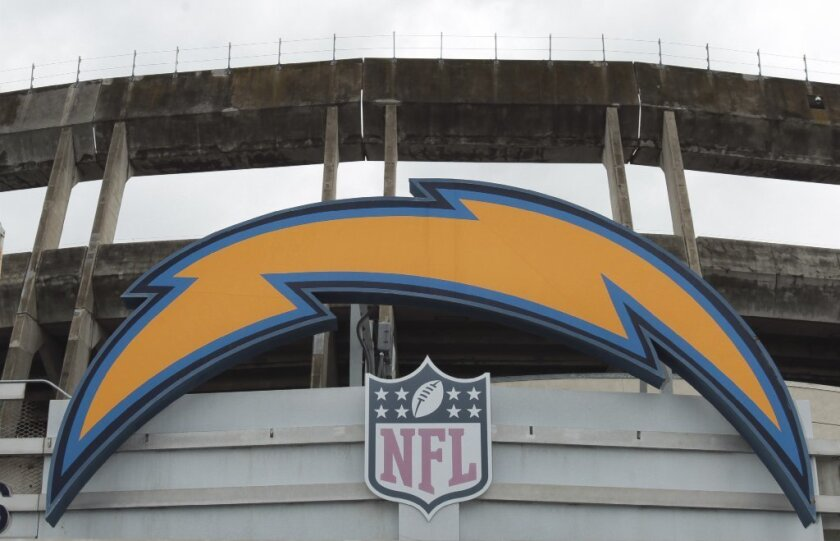 The Chargers' bolt at Qualcomm Stadium in San Diego on Jan. 13.