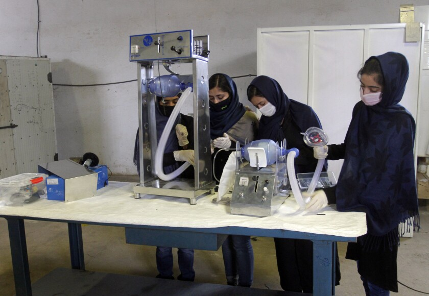 Afghan girls are working to develop ventilator devices.