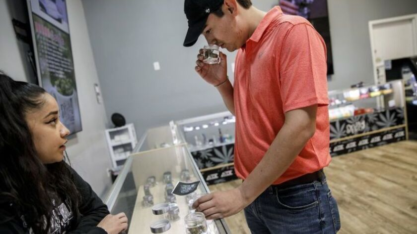 Leonardo Catalán huele diferentes opciones de cannabis en Delta-9 THC en Wilmington, California. La nueva legislación exigiría 2.200 nuevas tiendas de cannabis en California, más del triple de las que funcionan legalmente ahora, estiman los funcionarios estatales. (Marcus Yam / Los Angeles Times)