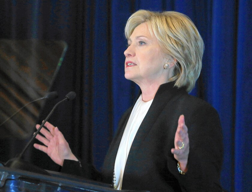 """Democratic presidential candidate Hillary Clinton has called on technology companies to cooperate more with online counter-terrorism efforts and """"work in disrupting ISIS."""""""