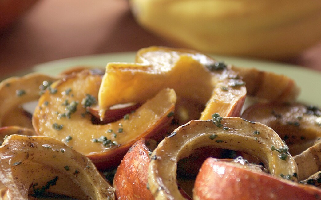 Squash baked with sage and chile butter