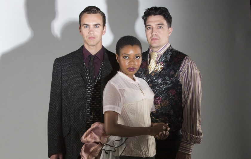 """Daniel Petzold, Makha Mthembu and Christopher Salazar (from left), of the Old Globe's """"Globe for All"""" production of """"Measure for Measure."""""""