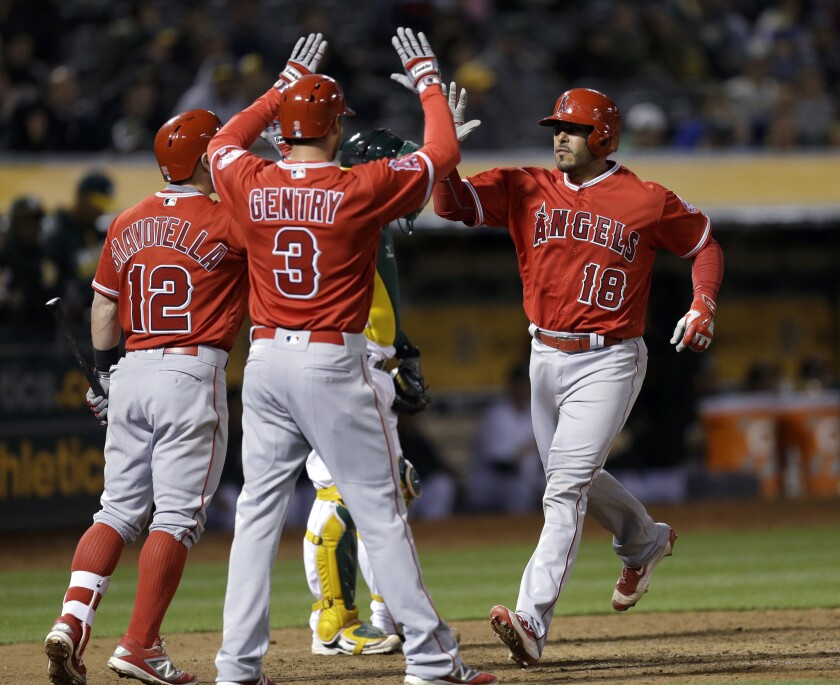 Geovany Soto is congratulated by Johnny Giavotella (12) and Craig Gentry (3) after hitting a two-run home run in the ninth inning of the Angels' 5-4 win over the Athletics on April 12.