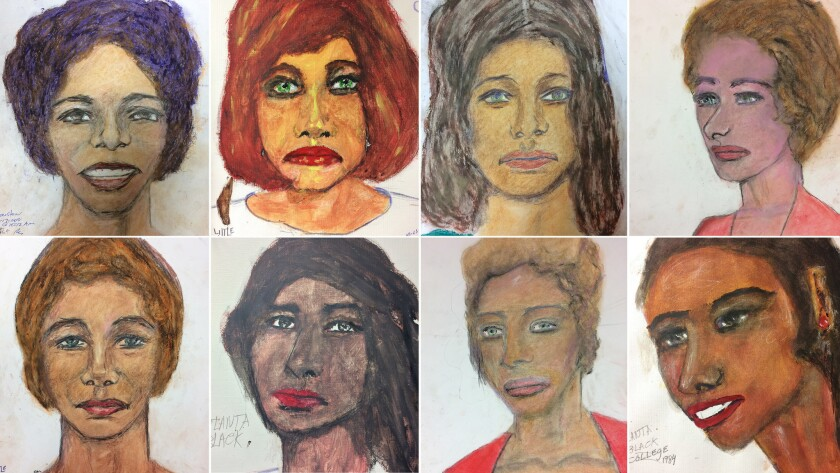 A mosaic of drawings by Sam Little of his victims. Top row from left; Black female between 25-28 ye