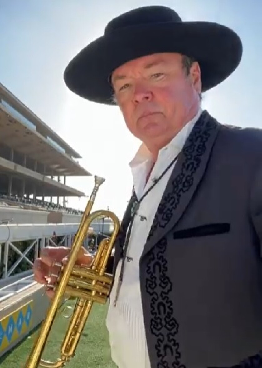 Del Mar race track trumpeter Les Kepics played to empty stands on July 10 during pandemic.