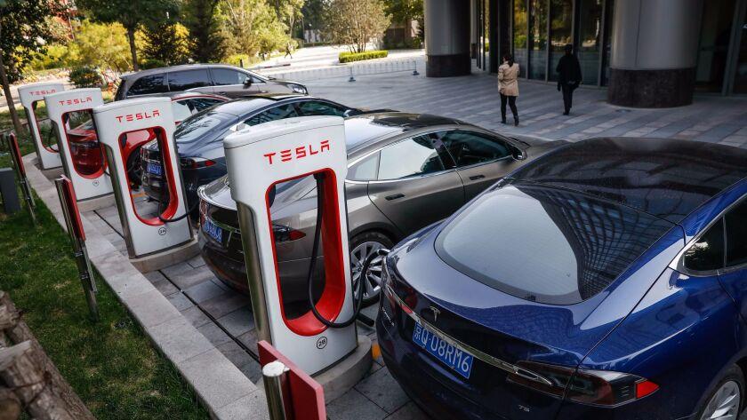 Teslas charge up in Beijing.