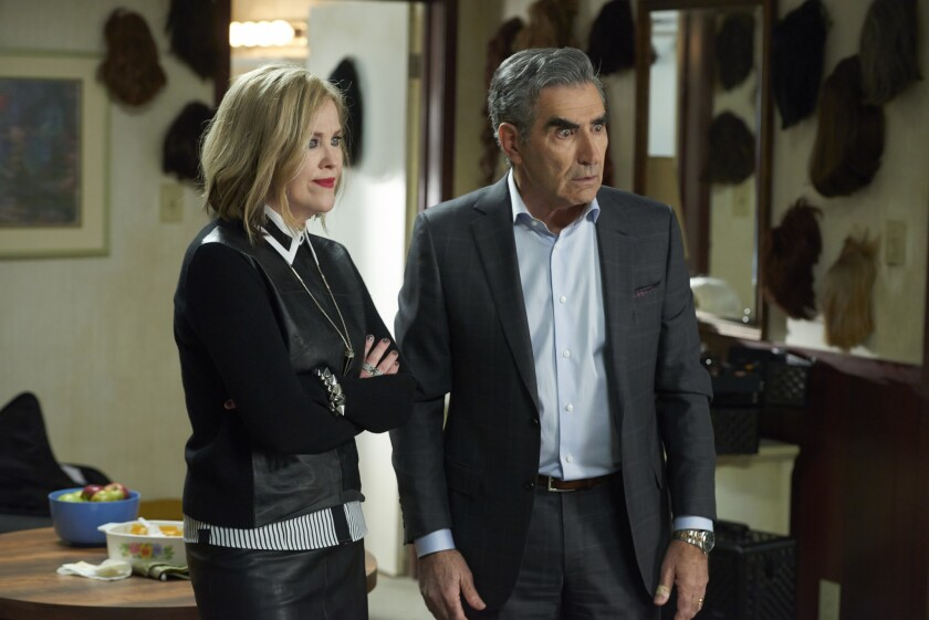 """Catherine O'Hara as Moira Rose, with Eugene Levy in """"Schitt's Creek."""""""