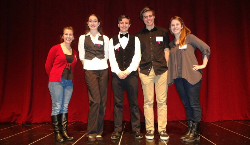 The finalists in the 2013 San Diego Shakespeare Competition (left to right): Annika Gullahorn, Chrissy Taylor (the winner), Chris Torborg, Carson McCalley (first runner-up) and Laura Parker.