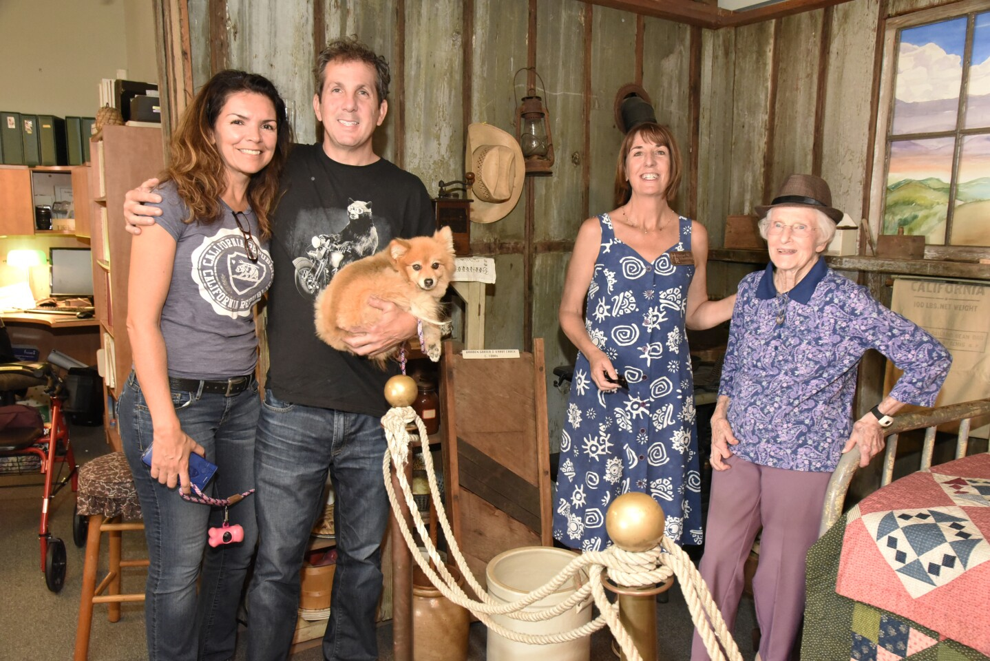 Adriana Rossarda and Jerome Farmer, The San Dieguito Heritage Museum Board President Sinéad Ni Chabhláin, SDHM founding member and volunteer tour guide Jan Grice