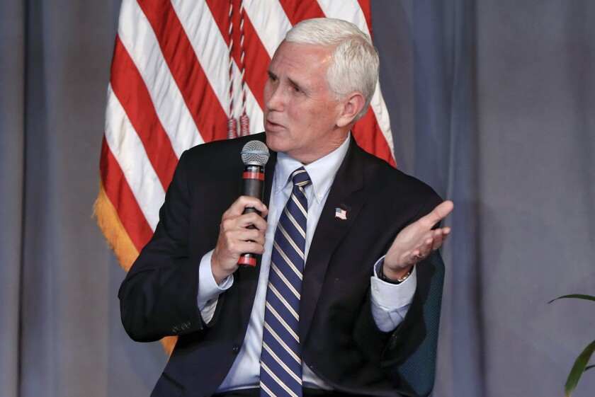 Vice President Mike Pence speaks during a discussion at the Covenant Church of Pittsburgh in Wilkinsburg, Pa,. Friday, June 12, 2020. AP Photo/Keith Srakocic)