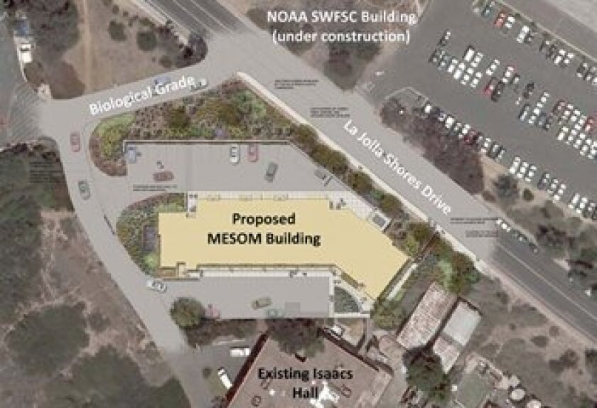 Rendering shows the location of the new research building planned for the Scripps Institution of Oceanography campus. Image: Courtesy