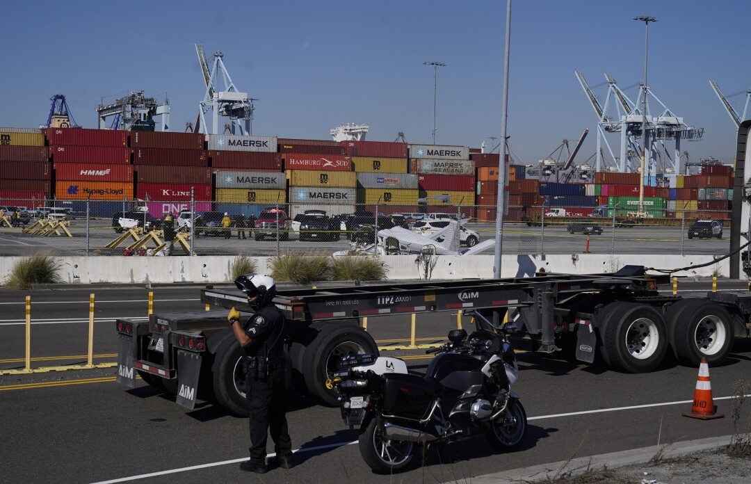 Containers are piled up along the docks of San Pedro.