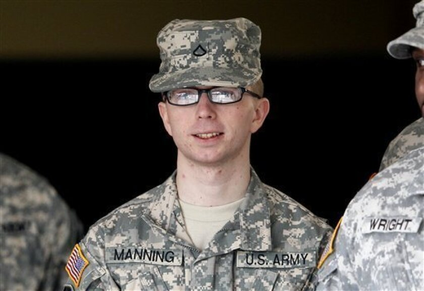 In this file photo taken Dec. 22, 2011, Army Pfc. Bradley Manning is escorted from a courthouse in Fort Meade, Md. An Army officer has ordered a court-martial, Friday, Feb. 3, 2012 for Manning, a low-ranking intelligence analyst charged in the biggest leak of classified information in U.S. history. (AP Photo/Patrick Semansky, File)