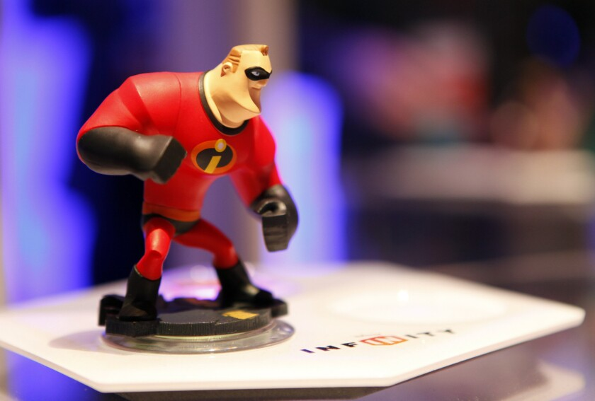 "A Mr. Incredible action figure from the video game ""Disney Infinity,"" which was developed by Disney Interactive."