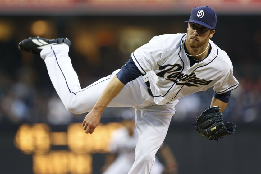 Padres starting pitcher #45 Anthony Bass in the first.