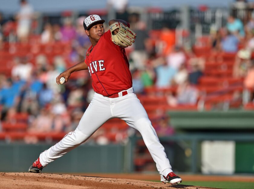 Greenville starting pitcher Anderson Espinoza delivers a pitch. The Greenville Drive hosted the Asheville Tourists Friday, July, 1, 2016 at Fluor Field.