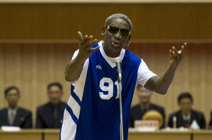 """Dennis Rodman sings """"Happy Birthday"""" to North Korean leader Kim Jong Un before an exhibition basketball game in Pyongyang in January."""