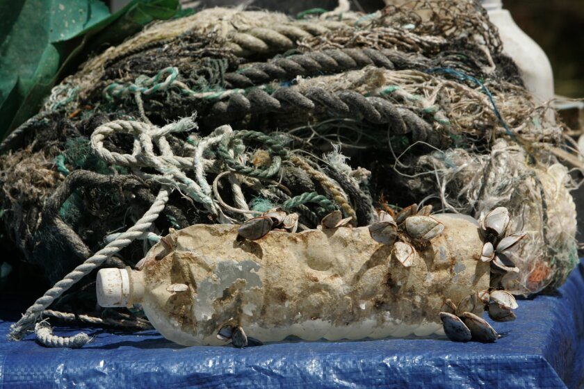A collection of garbage found on the expedition was displayed. Much of the area's debris is small, but it is still deadly to the ecosystem. (Howard Lipin / Union-Tribune)