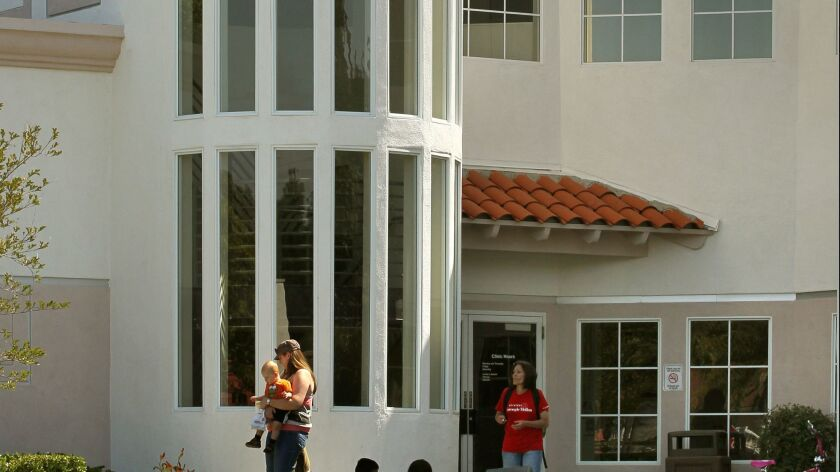 Exterior view of the main entrance of the Vista Community Clinic.