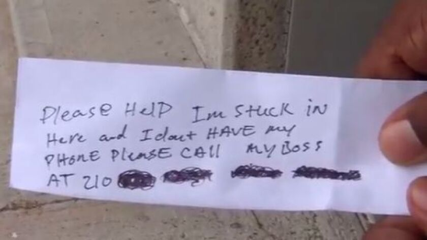 A man sent notes through an ATM after he was trapped inside the room holding the device.