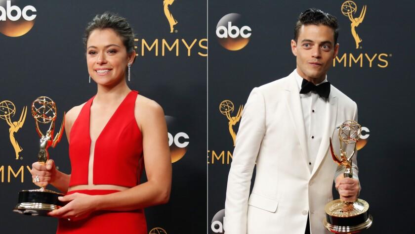 Tatiana Maslany and Rami Malek with their Emmy Awards.