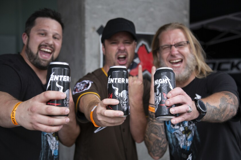 Enter Night Pilsner is a collaboration beer between Stone Brewing (Arrogant Consortia) and Metallica.
