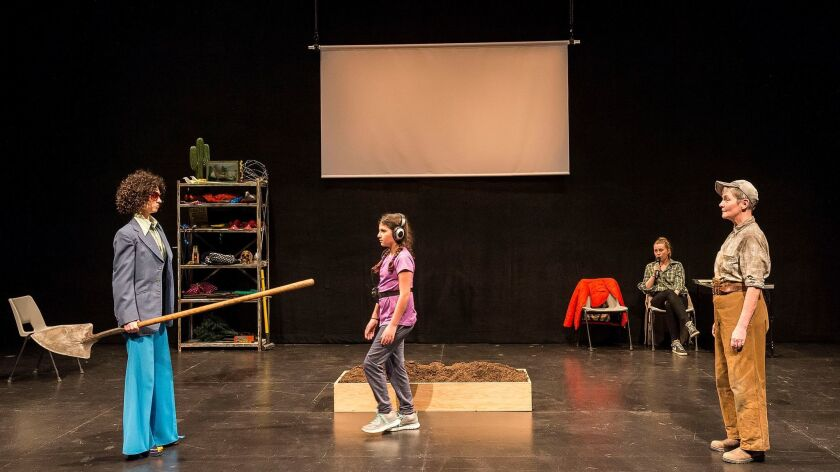 """Cath Whitefield, left, Ayla Moses (in a part played by rotating actresses), Jasmine Woodcock-Stewart and Gina Moxley in Tim Crouch's """"Adler & Gibb."""""""
