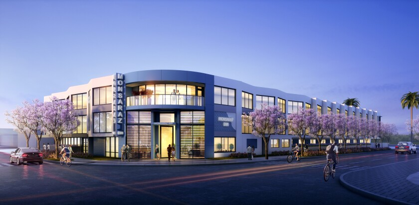 Rendering of midcentury-modern exterior of planned Monsaraz hotel being built in Point Loma