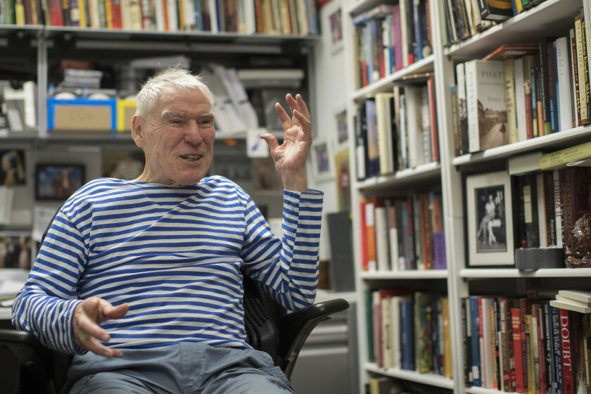 FILE - Dancer-choreographer Jacques d'Amboise appears during an interview in his office at the National Dance Institute in New York on March 3, 2018. D'Amboise, who grew up on the streets of upper Manhattan to become one of the world's premier classical dancers at New York City Ballet and spent the last four and a half decades providing free dance classes to city youth at his National Dance Institute, died Sunday, May 2, 2021. He was 86. His death was confirmed by Ellen Weinstein, director of the institute. (AP Photo/Mary Altaffer, File)